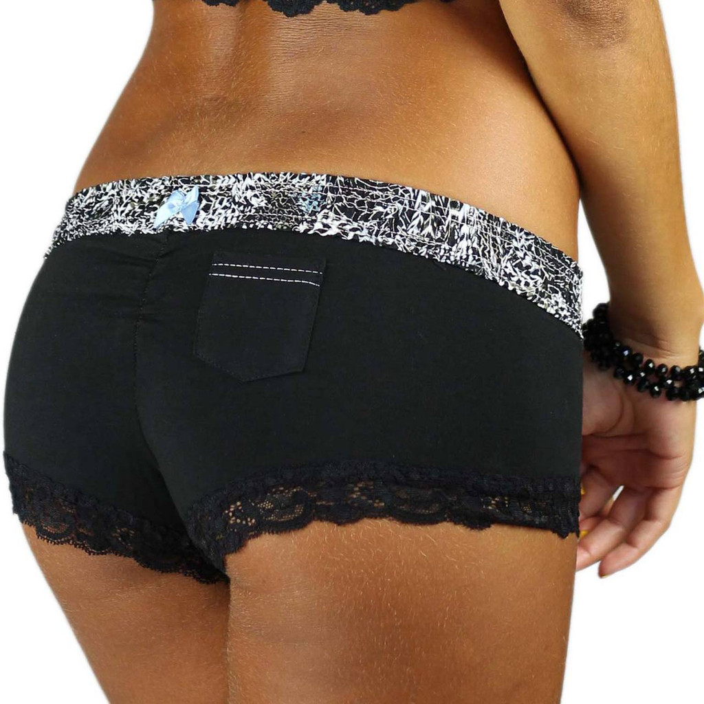 Black Boyshorts with Black Lace Trim and Feather Print Waistband