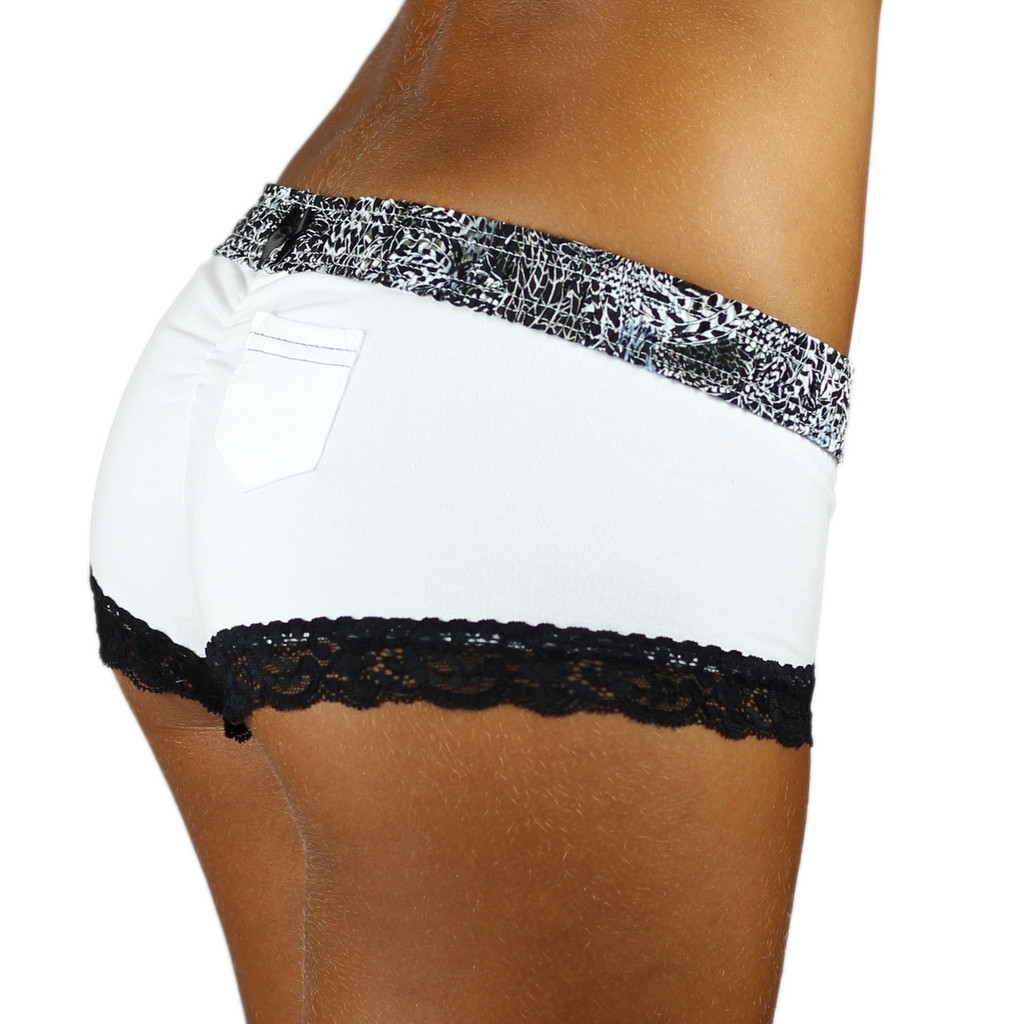 White Boyshorts with Feather Print Waistband