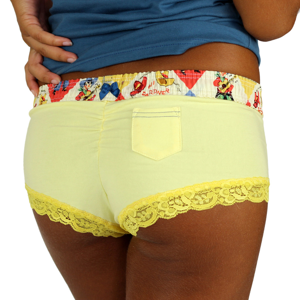 Yellow Cheekster Boyshorts with Retro Cowboy Waistband