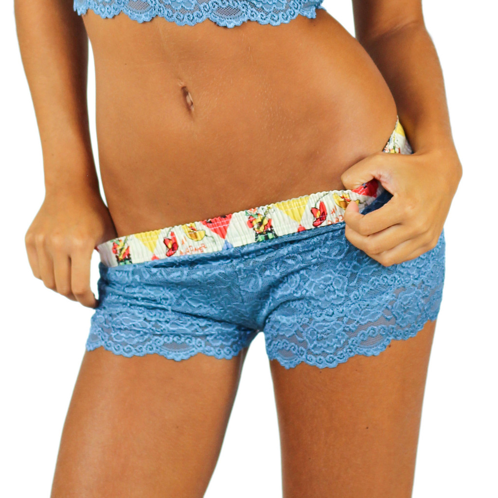 Blue Lace Boxers with Rodeo Waistband