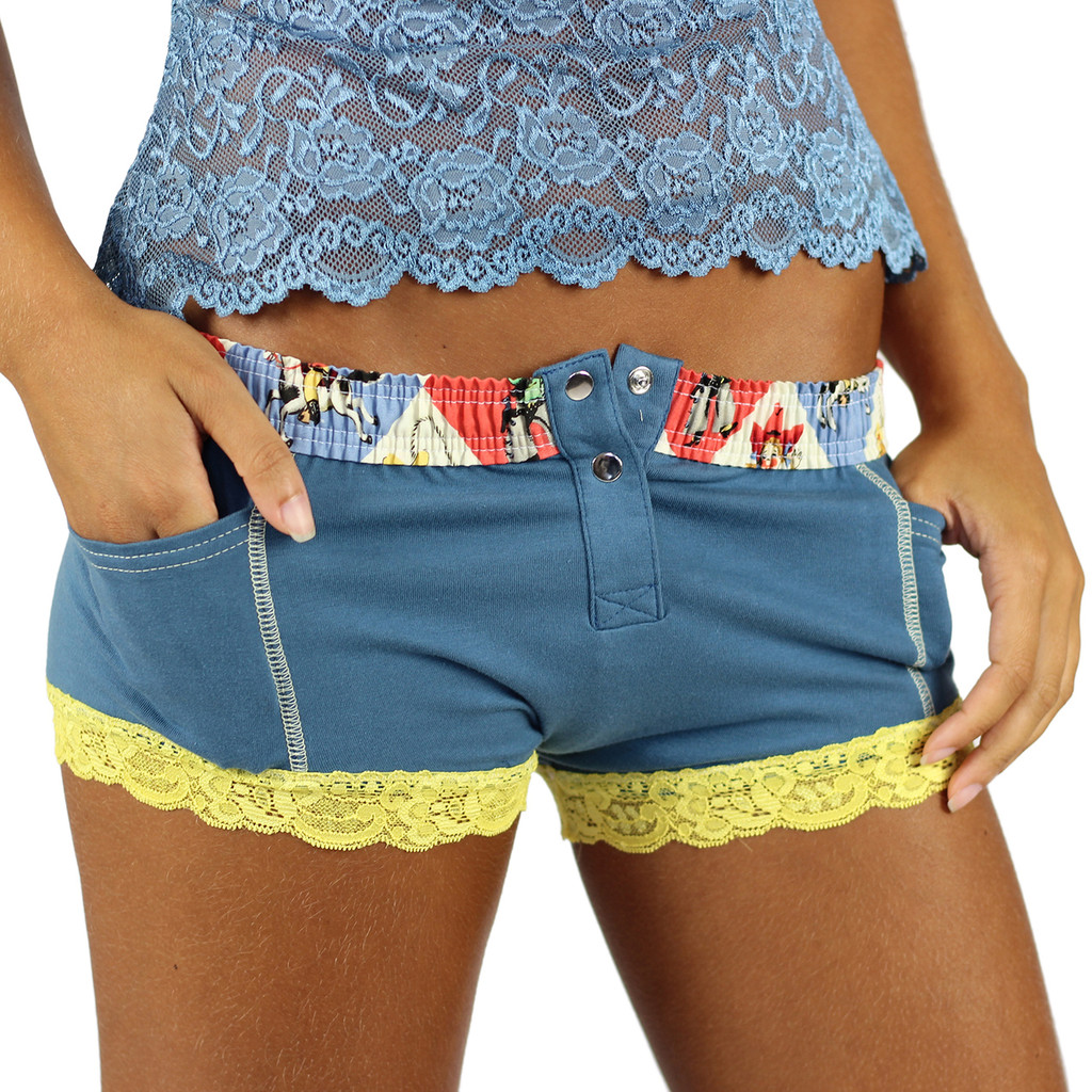 Slate Blue Women's Cowgirl Boxer Brief Underwear with pockets