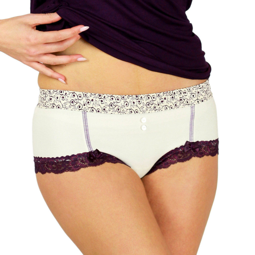 Cheeky Ivory Cotton Boyshort Panties with Plum Scroll Waist