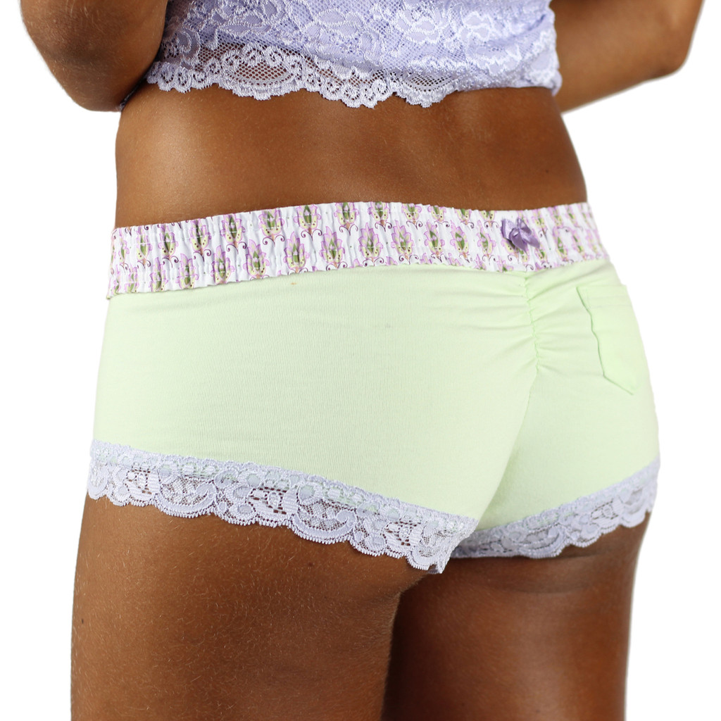 Pale Mint Green Boyshorts with Lavender Print Foxers Waistband