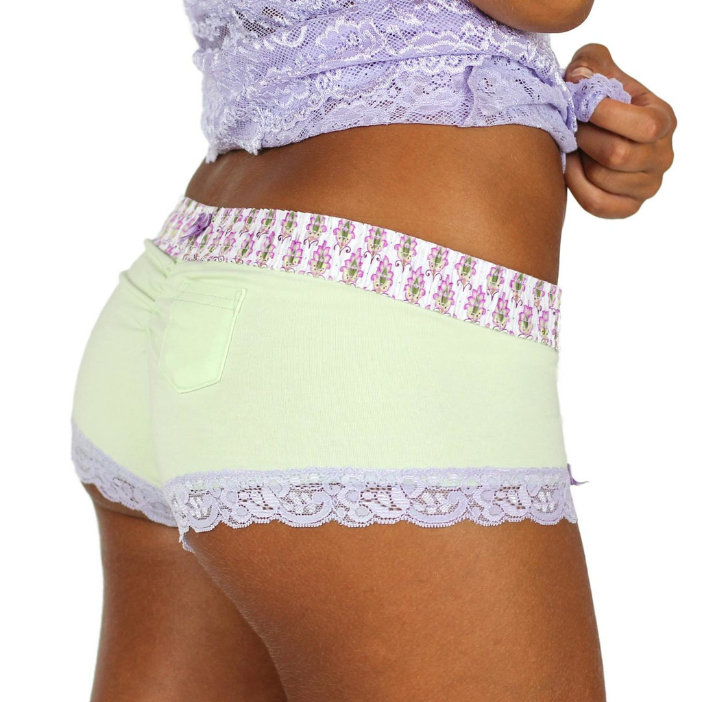 Pale Mint Green Boyshorts with Lavender Print Waistband