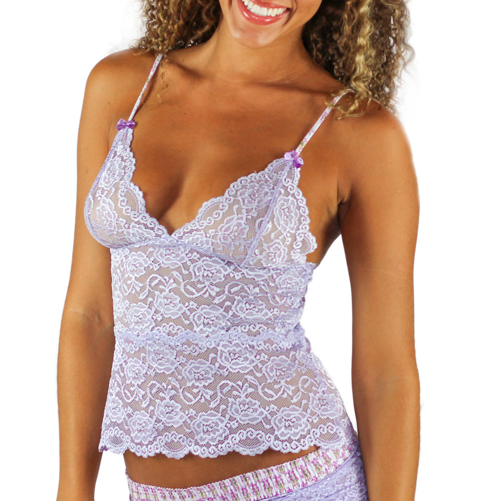 Lavender Lace Waist Length Camisole with Adjustable Straps
