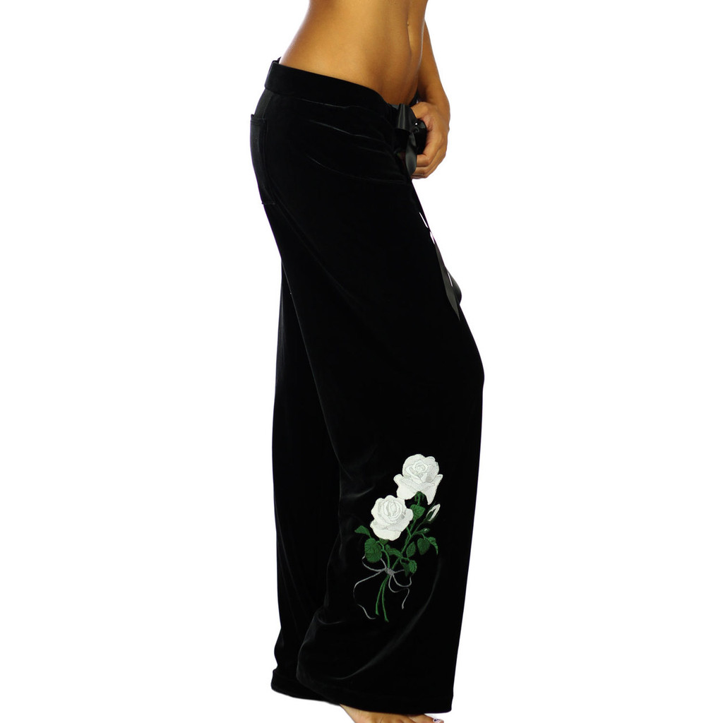 White Rose Embroidered Velvet Lounge Pants for Women