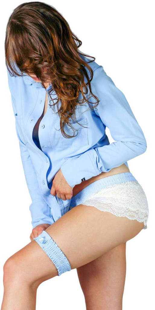 """Bridal """"Day of"""" set Light blue dot matching garter and lace boxers paired with our getting ready shirt """"the equestrian"""""""