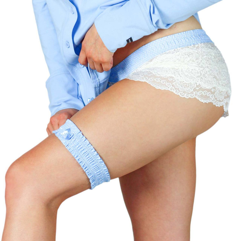 Light Blue Dot Garter and Matching Lace Boxers