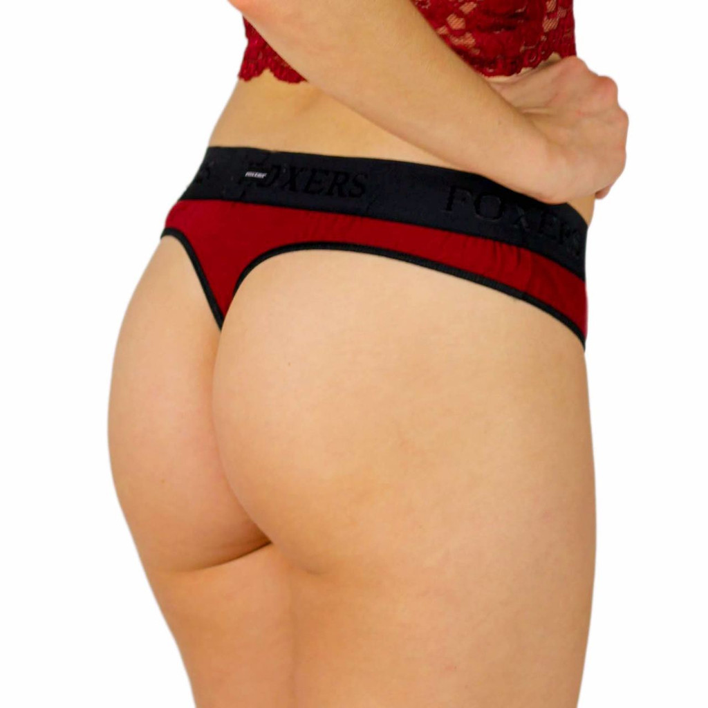Dark Red T-Back Thong with Black Waistband