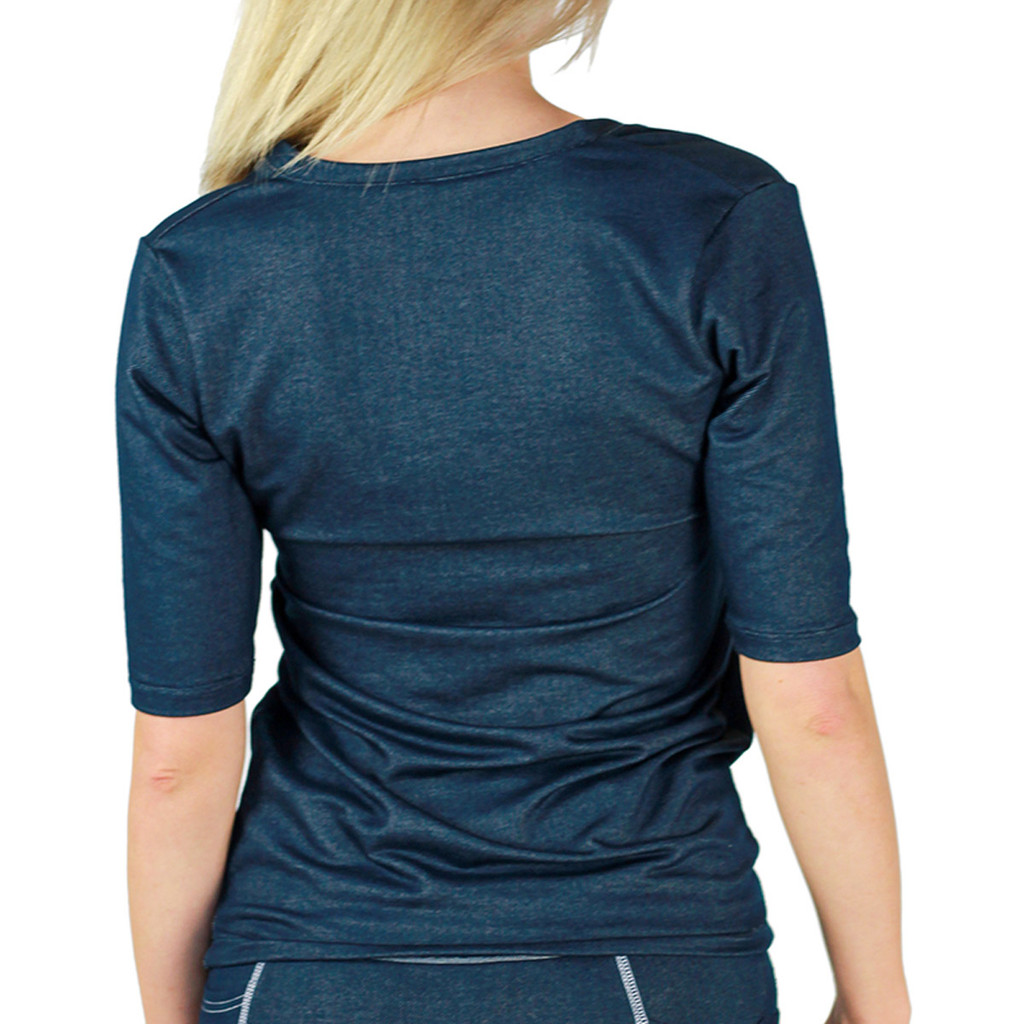 Stretch Indigo Blue Denim Deep V Tshirt