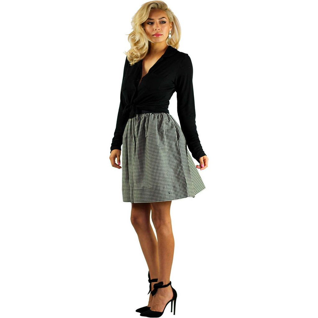 Black & White Flannel Skirt With Pockets