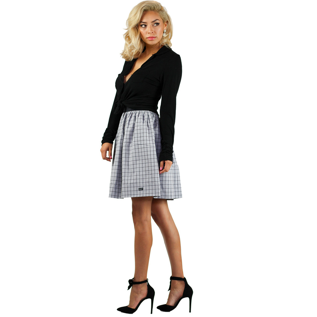Chic Grey Plaid Skirt With Pockets