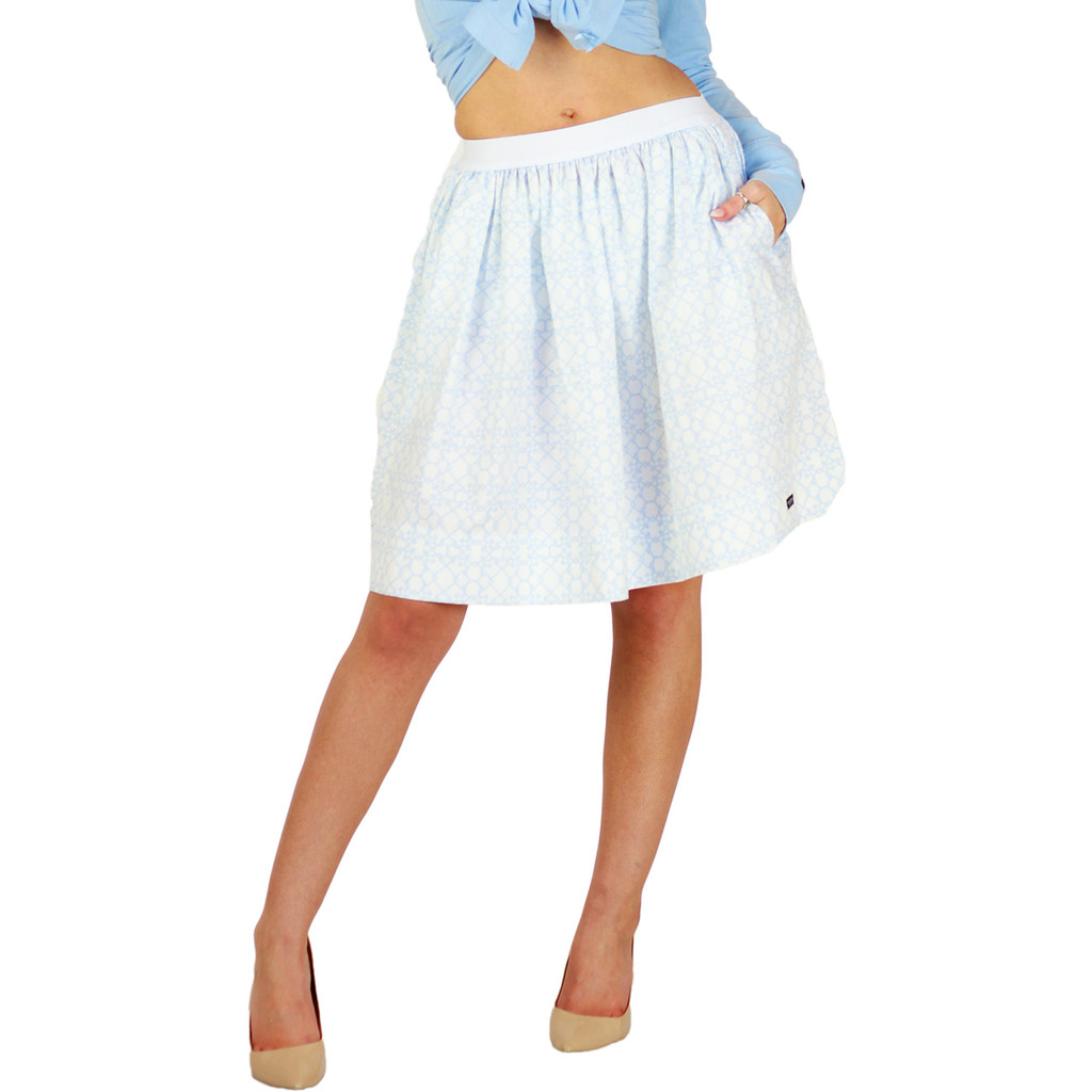 Beautiful Bridal Light Blue Trellis Skirt With Pockets (FXSKT-116)