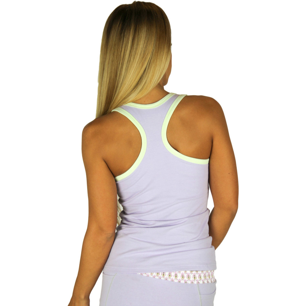 Lavender Racer Back Tank Top with Mint Trim
