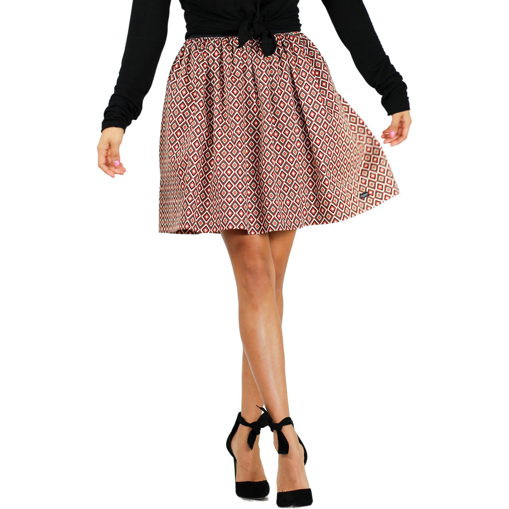 Red & Black Geometric Diamond Print Skirt With Pockets (FXSKT-151)