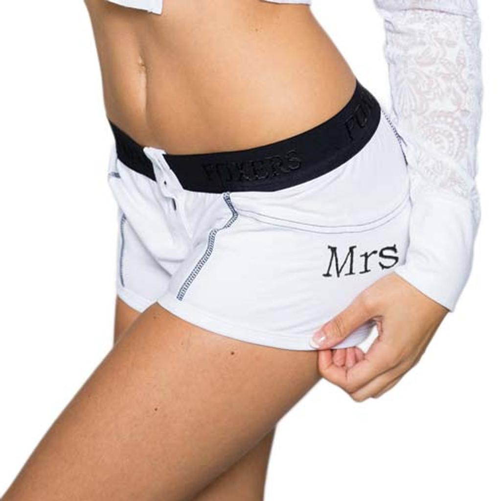 """Mrs"" Monogrammed Bridal Boxer Briefs | FOXERS (FXBBL-0201L-MRS)"