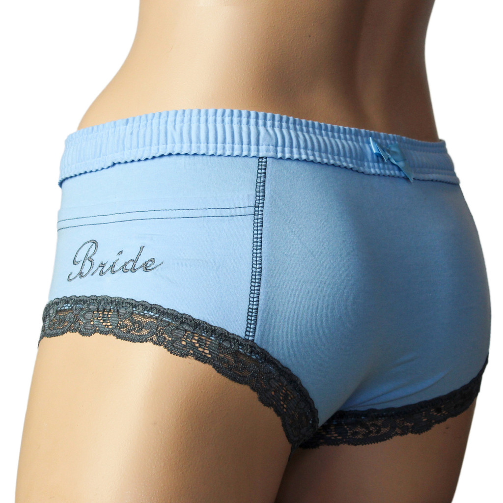 "Something Blue Women's Boxer Briefs with ""Bride"" Monogram"