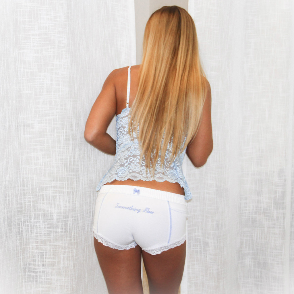 """Something Blue"" Monogrammed White Bridal Panties"