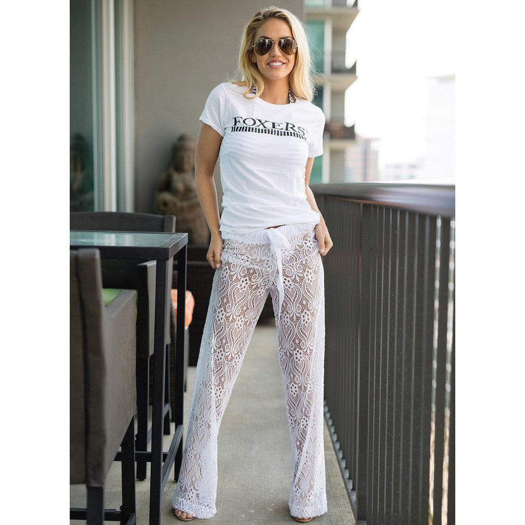 White Lace Palazzo Pants Swim Cover Up