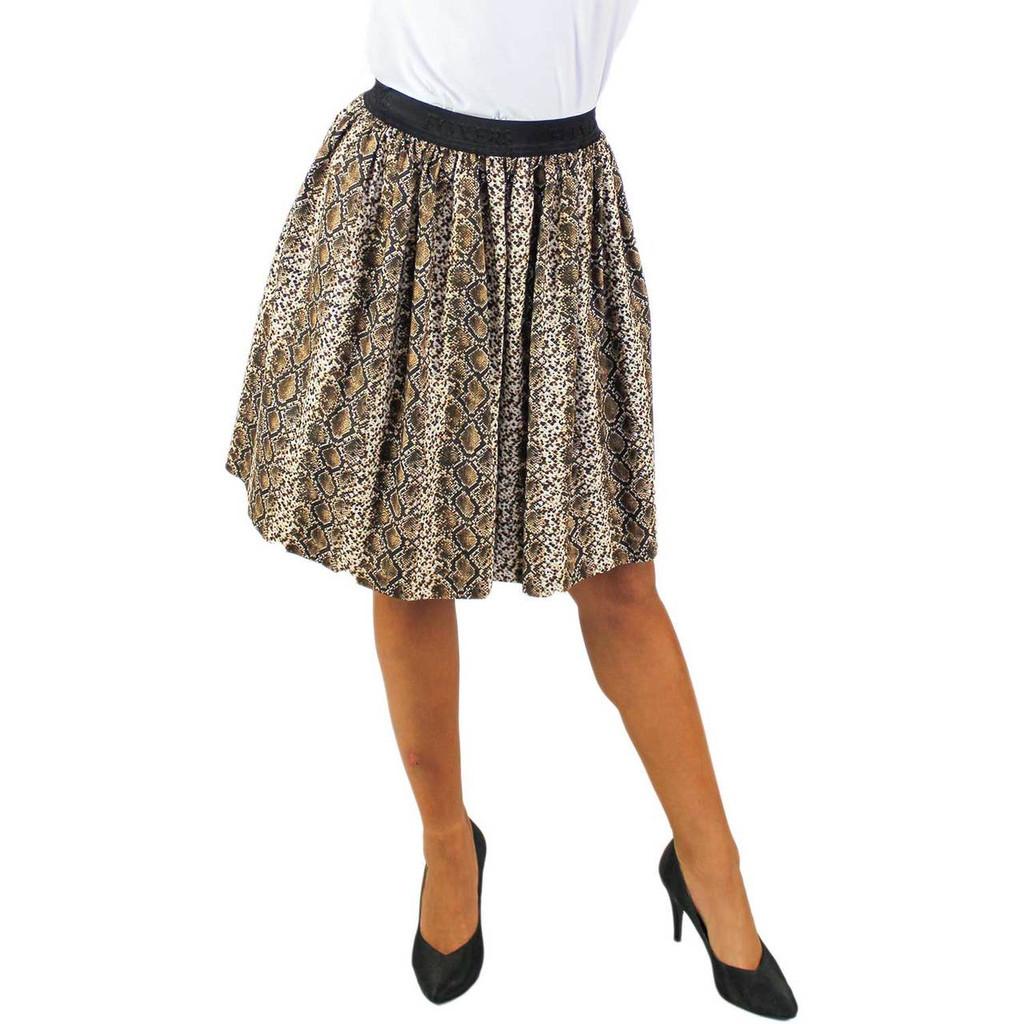 Snake Skin Print Skirt with Pockets