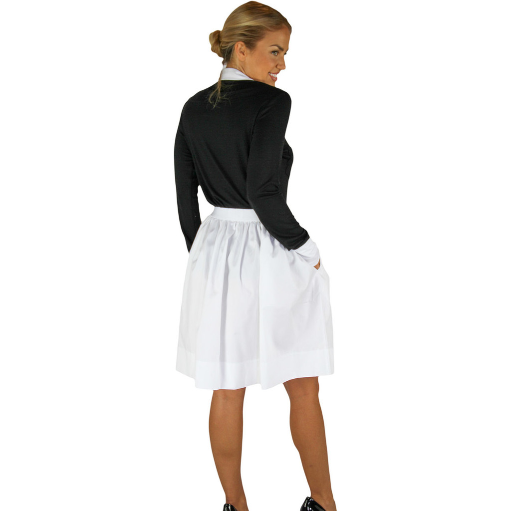 Chic White Cotton Skirt With Pockets