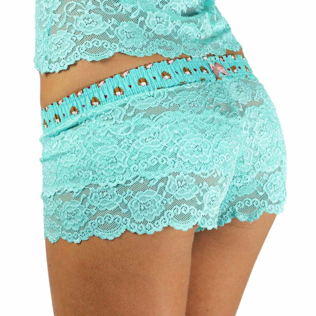 Turquoise Lace Boxers with Hedgehog Waistband