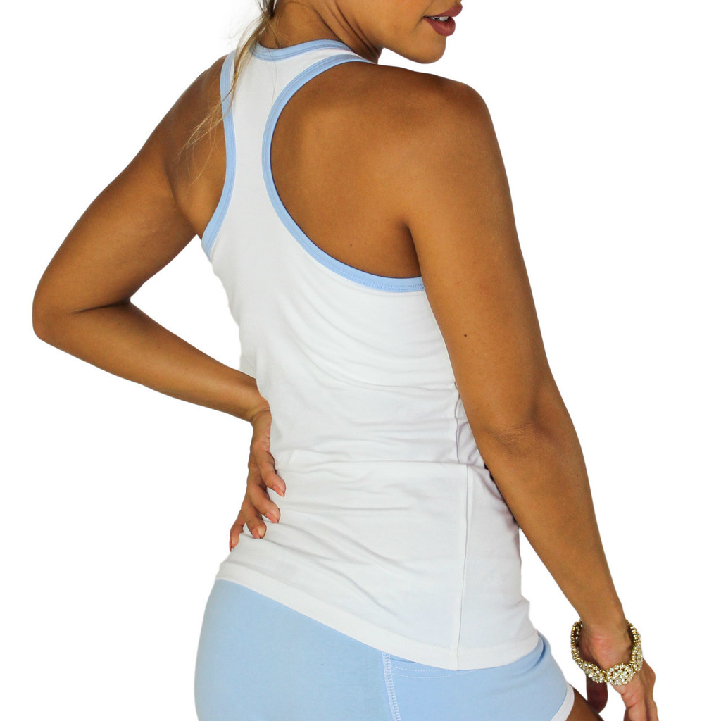 White Racerback Shelf Bra Tank Top with Lt Blue Trim