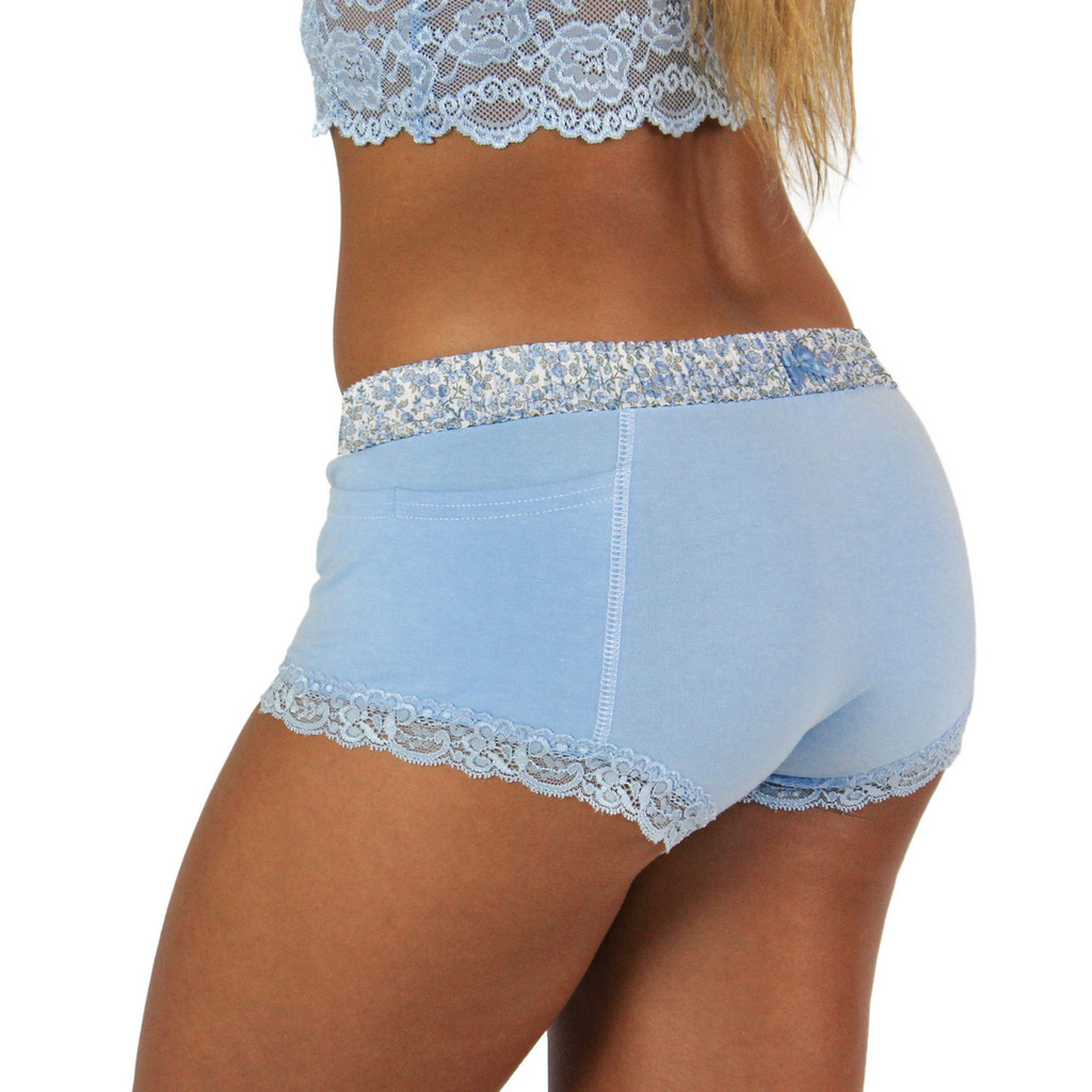 Light Blue Boxer Brief with Floral FOXERS Band