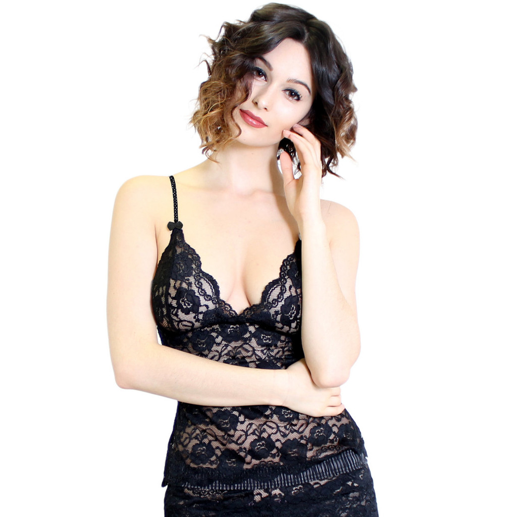 Black Lace Waist Length Camisole | Polkadot Straps