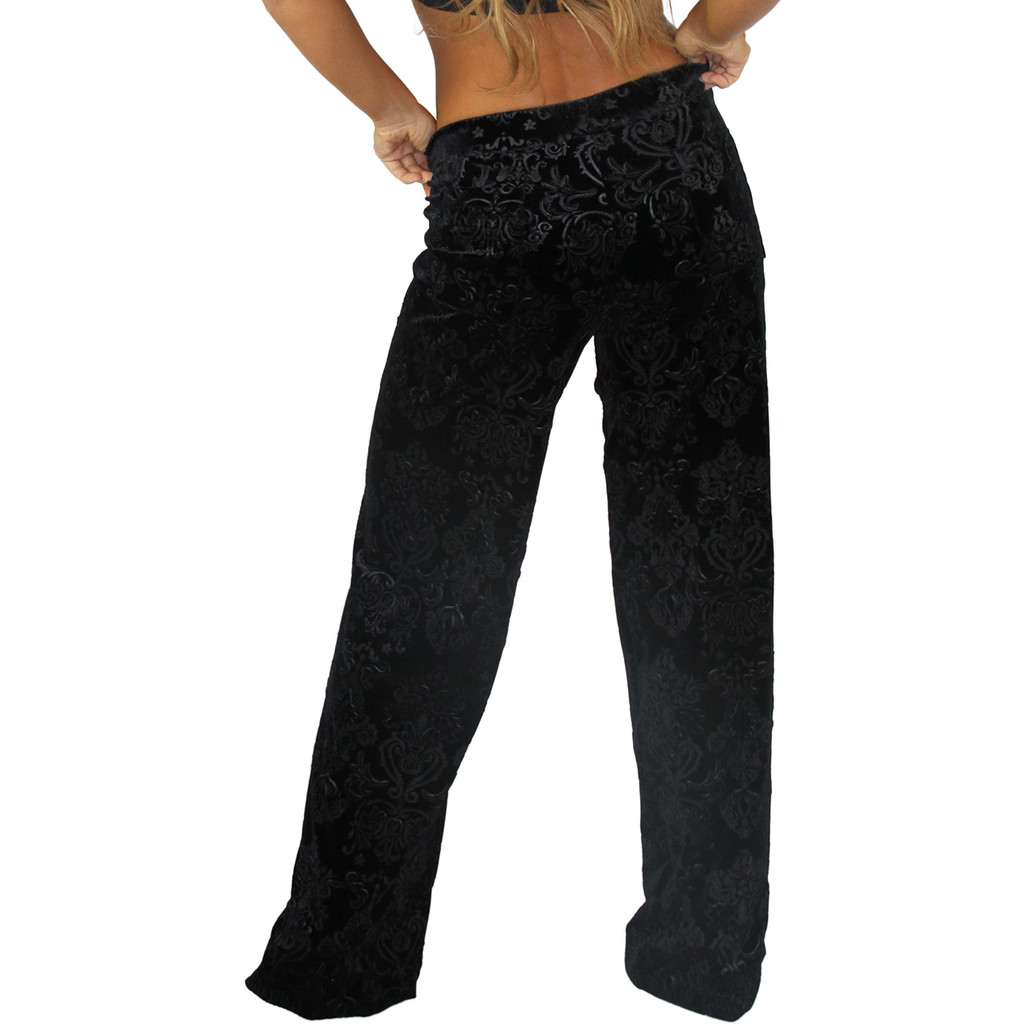 Damask Black Velvet Palazzo Pants | FOXERS Lounge Pants