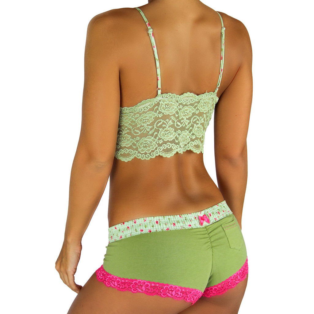 Sage Green Boyshort with Roses Forever Waistband