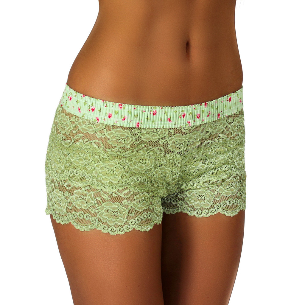 Sage Green Lace Boxer | Rose Print Band (FXBXR-68154)
