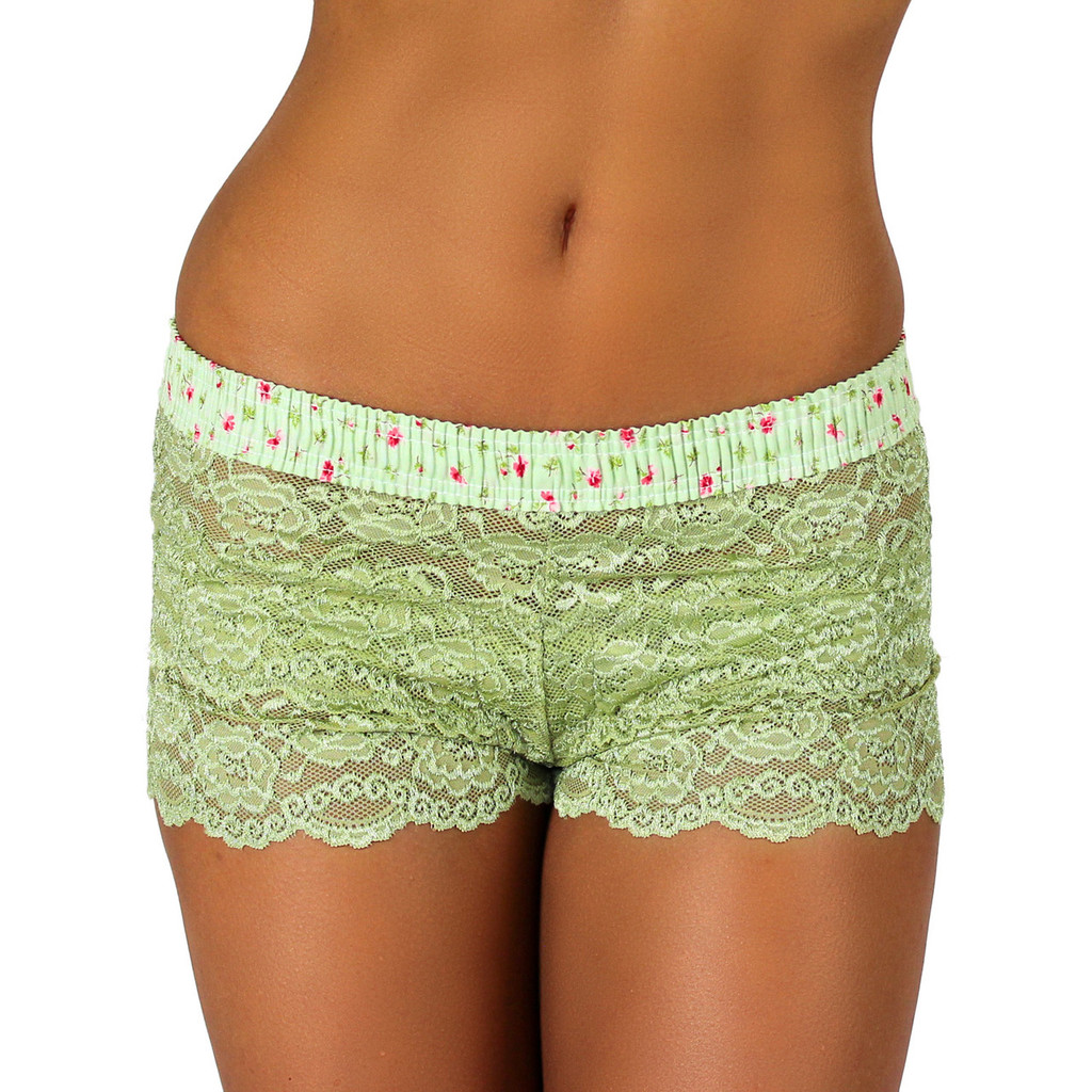 Sage Green Lace Boxer | Rose Print Band