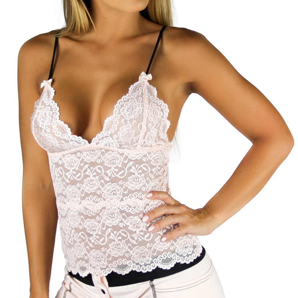 Blush Pink Lace Waist Length Chemise (FXLAC2-1201)