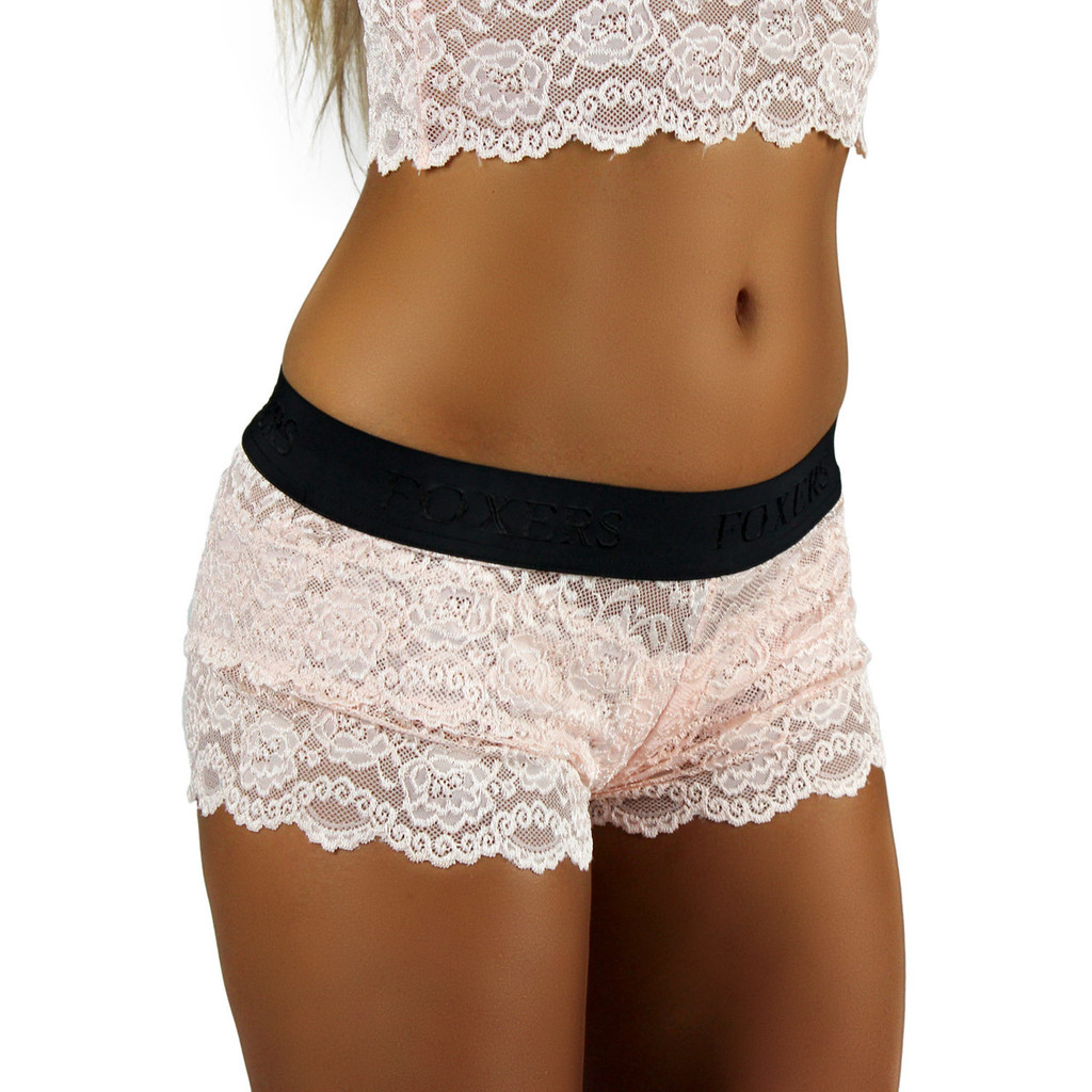 Blush Lace Boxer | Black FOXERS Logo Band