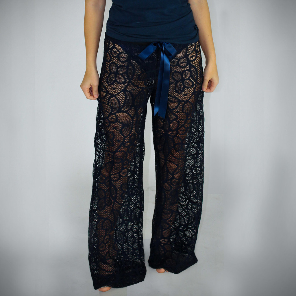 Navy Blue Lace Swim Cover Up/ Lounge Pants
