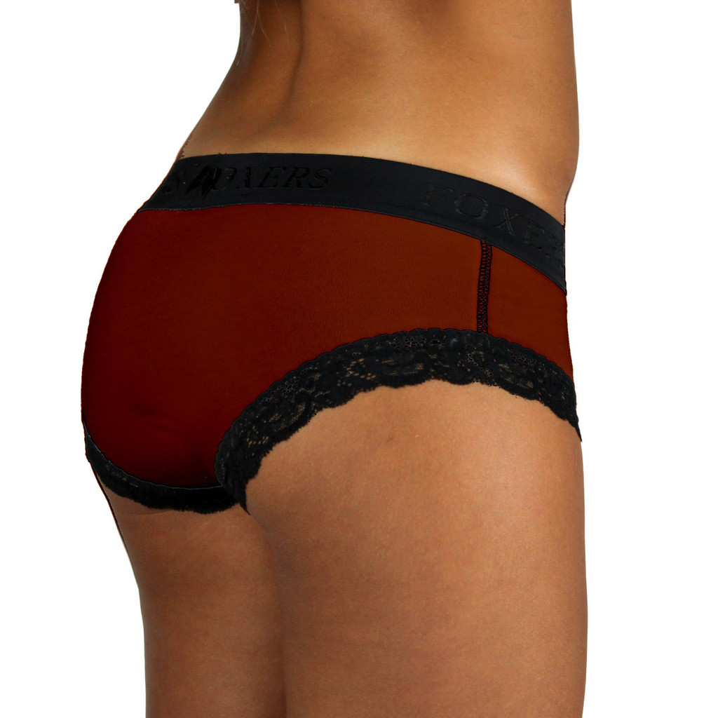 Dark Cranberry Boy Brief | Black FOXERS Logo Waistband