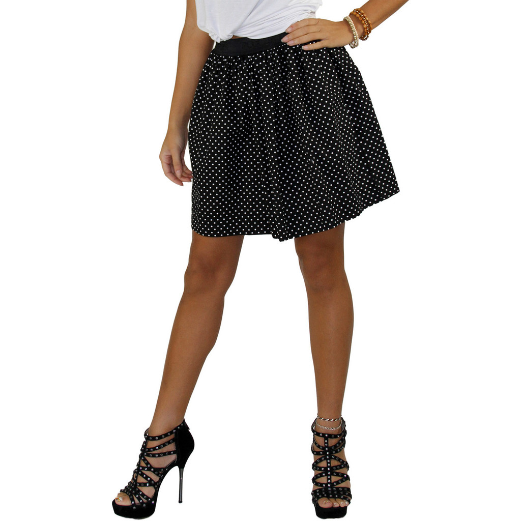 Black and White Dot Mini Skirt with pockets