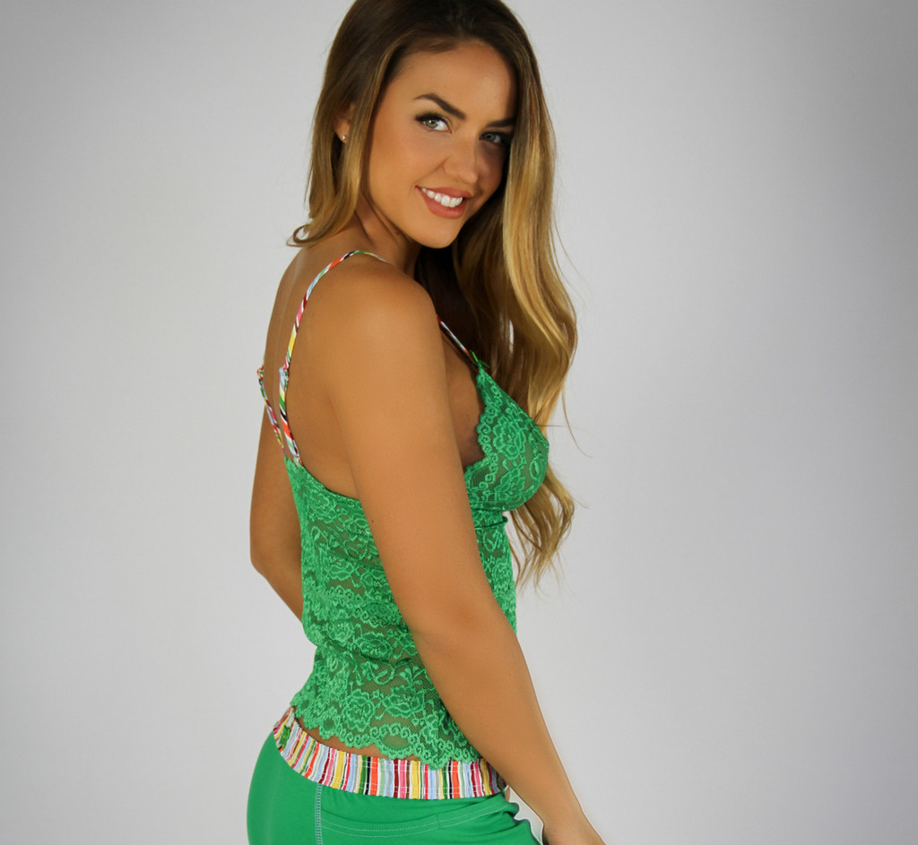 Kelly Green Waist Length Lace Camisole |  Cruise Stripe Straps