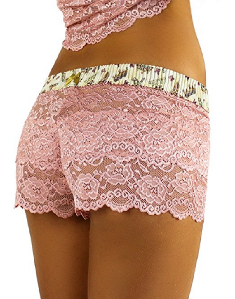 French Rose Lace Boxers with Royal Day Waistband