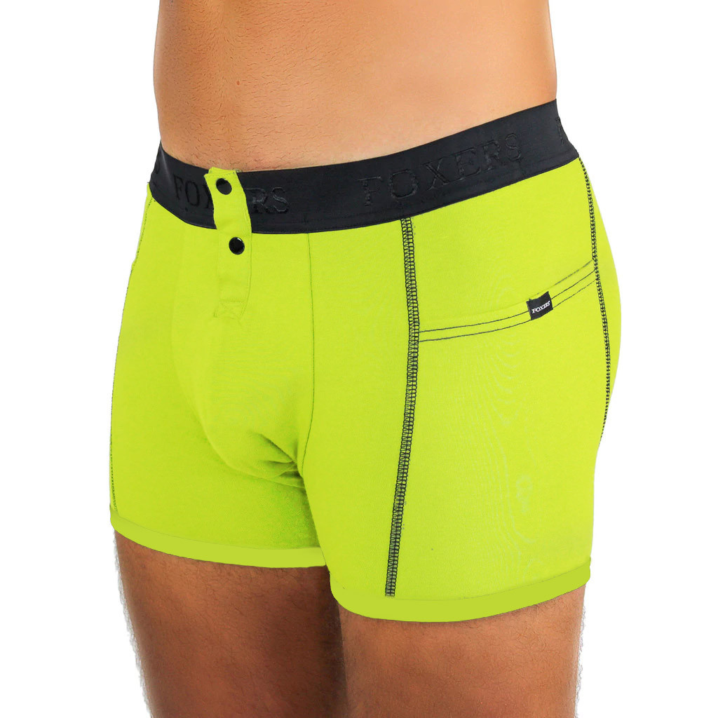 Men's Lime Green Boxer Brief with Logo FOXERS Band