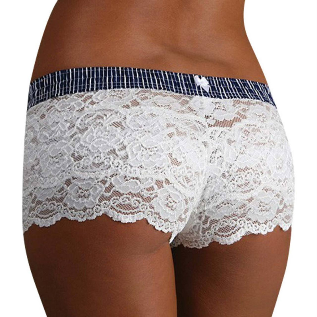 White Lace Boxer Briefs with Nautical Waistband