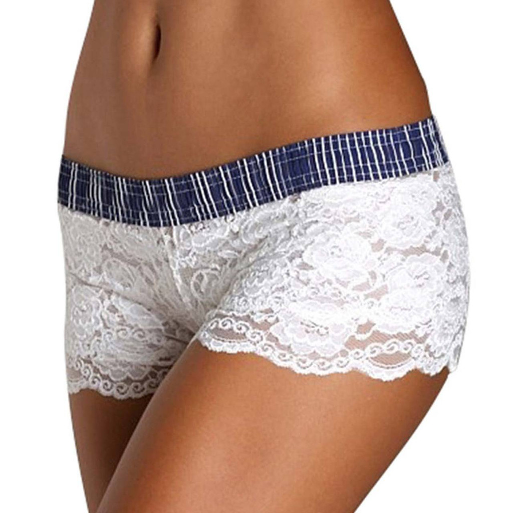 White Lace Boxers with Navy Striped Waistband