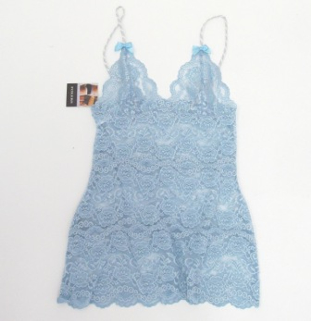 Lt Blue Lace Hip Length Cami Lt Gray white adj Straps lt blue bow