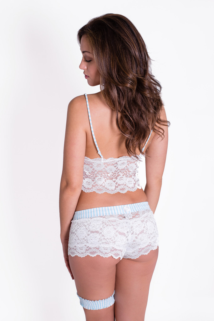 White Lace Camisole & Lace Boxers with Mint Blue Striped Straps and Waistband