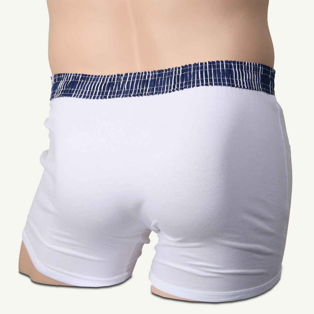 Navy Blue Stripe over White Short Boxer Brief