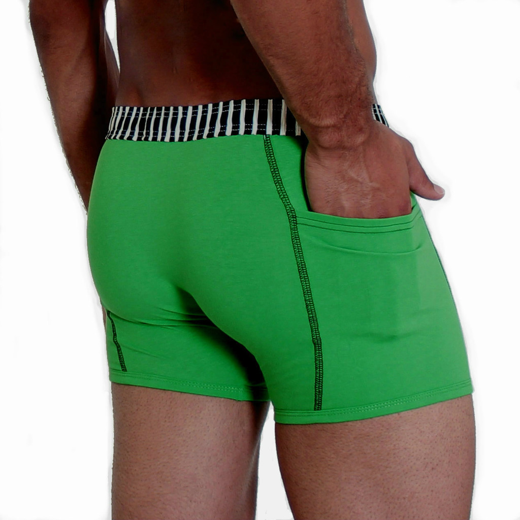 Men's Green Boxer Brief with Black and White Waistband