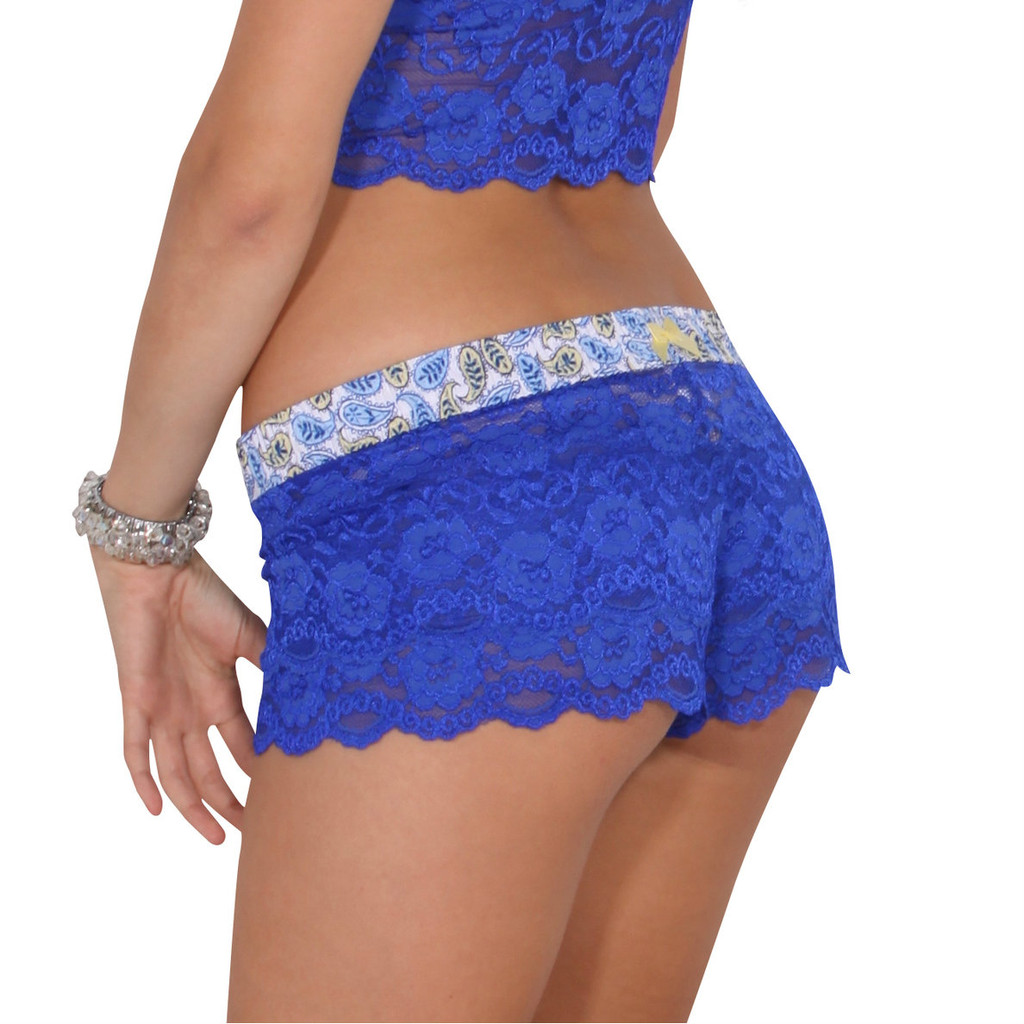 Royal Blue Lace Boxer with Paisley royal blue and yellow Waistband