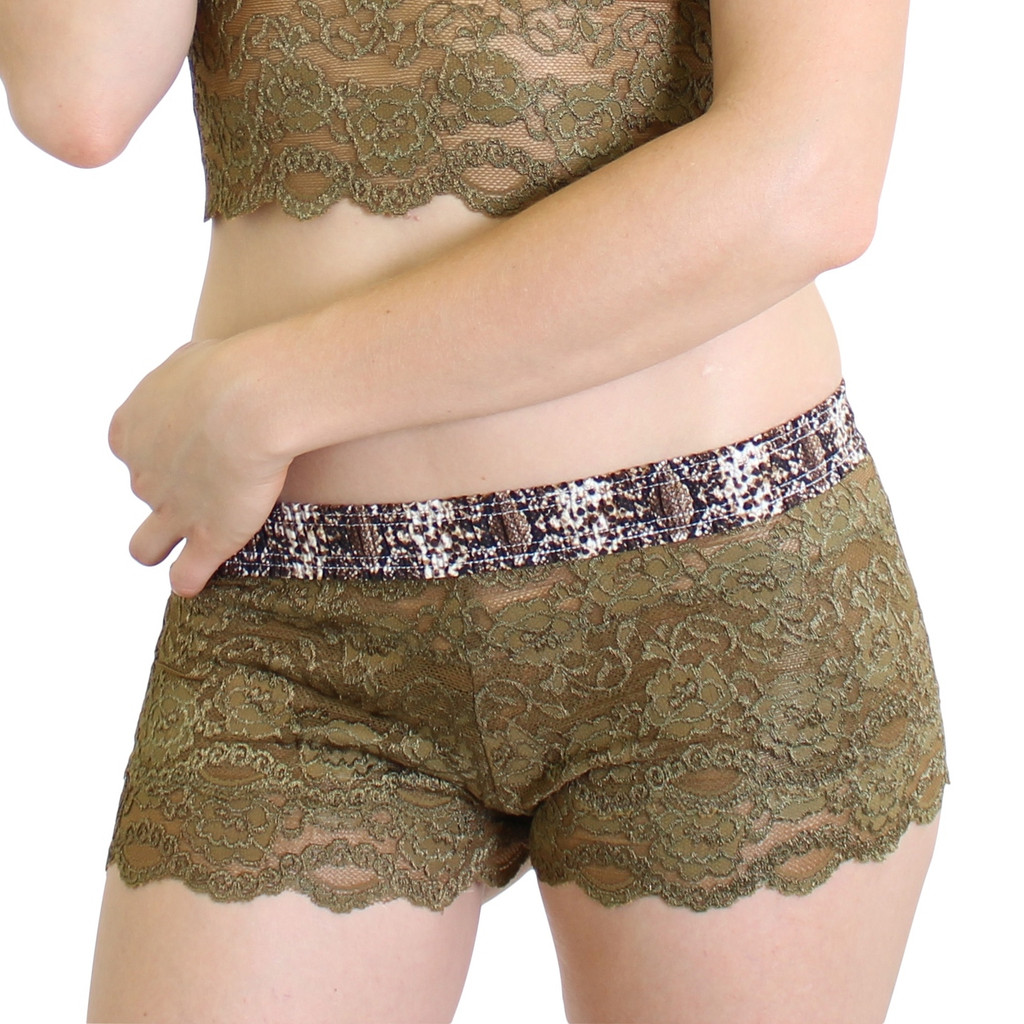 Olive Lace Boxer with Snakeskin Print Waistband