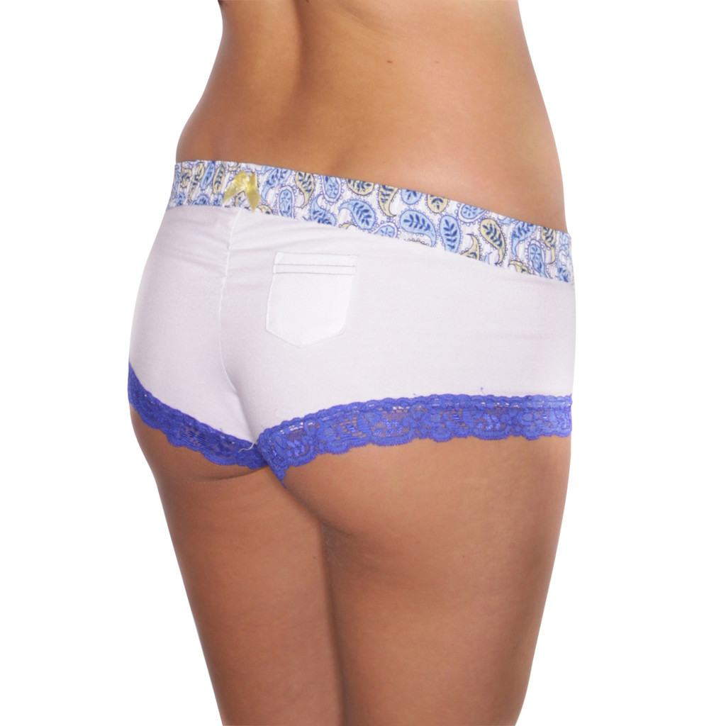 White Boyshort with Paisley Waistband